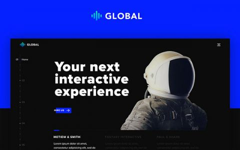 Global: One page portfolio PSD template