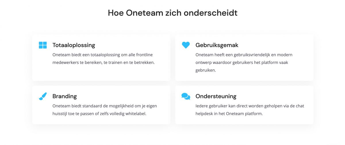Website Oneteam - Features